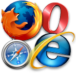 Firefox, Opera, Safari and Internet Explorer browsers